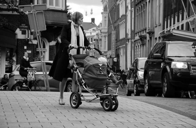mom and a stroller